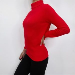 Vintage 60s Orlon Red Knit Zip Turtleneck Sweater